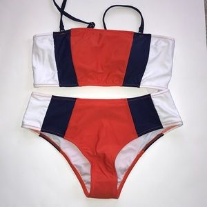 Cupshe Orange & Navy Striped Bikini NWT
